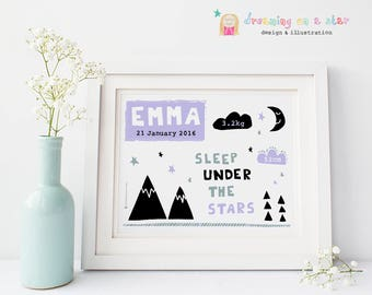 Baby Monochrome Print, New Baby Print, Birth Announcement, Nursery Art, PERSONALISED Baby Gift, Baby Girl Gift, Modern Baby, New Baby Gift
