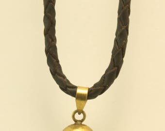 LEATHER NECKLACE with brass SKULL pendant