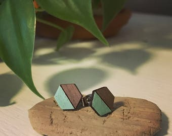 Walnut & Mint Hexagon Studs