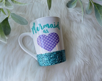 Mermaid At Heart Coffee Mug Glitter Mug // Glitter Mug // Mermaid Mug // Mermaid // Coffee Cup Gift