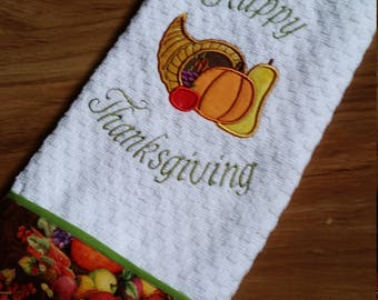 Happy Thanksgiving Dish Towel, Cornucopia Kitchen Towel, Embroidered Dish Towel, Autumn Dish Towel, Personalized Dish Towel, Kitchen Towel