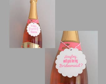 Pop the question bridesmaid proposal, Be my Bridesmaid wine bottle label, Maid of honor proposal, Wine bridesmaid proposal, Double sided tag