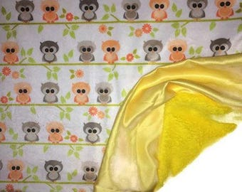 Baby Blanket, Lovey, Owls, Minky, Baby Announcement, Baby Shower