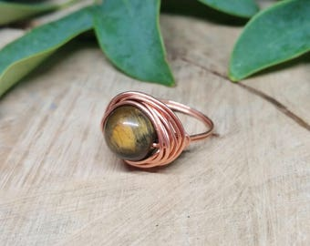 Tiger Eye Copper Wire Wrapped Ring