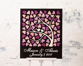 Rustic wedding guest book alternative Wood wedding guestbook alternative Custom wedding book Sign in book Wedding Love Birds Purple Wedding