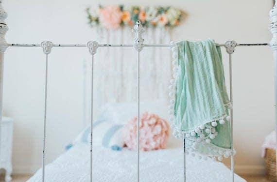 Pom Pom Blanket, Green Stripe Pom Blanket, Baby Blanket, Crib Blanket, Blankie, Gender Neutral Blanket, Green Pom Pom Blanket