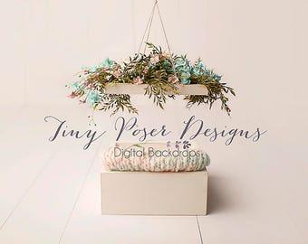 Floral Canopy Newborn Digital Backdrop Background Girl