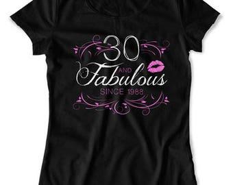 Funny Birthday Shirt 30th Birthday T Shirt Personalized TShirt Custom Birthday Year B Day Bday 30 Years Old And Fabulous Ladies Tee DAT-1566