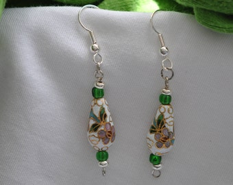 Cloisonne White Teardrop Bead  Drop Earrings