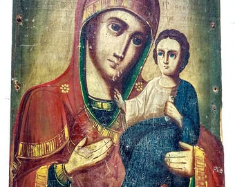 Rare Orthodox Icon Mother of God Theotokos Russian Empire Hand Painted Wooden Board 23x17cm