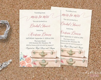 Miss to Mrs Bridal Shower Invitation Pastel Luggage Travel Bridal Shower Invite Printable Adventure Wanderlust Bridal Party Invite - BS033