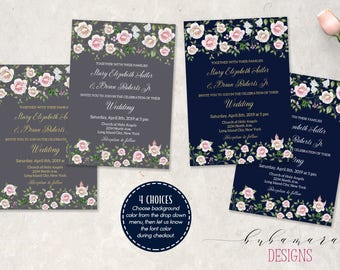 Roses Wedding Invitation Set Gray Navy Floral Invite Blush Pink Ivory Roses Spring Grey Wedding Invite Romantic Gold Font Invite - WS053