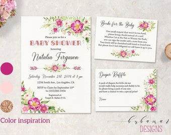 Pink Girl Baby Shower Invitation Floral Girl Rose Gold Glitter Baby Shower Invite Boho Invitation Set Peonies Baby Shower Invite - CS023