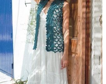 DMC Crochet pattern , Textured Gilet , womens waistcoat, crochet waistcoat , ladies gilet, crochet knitwear