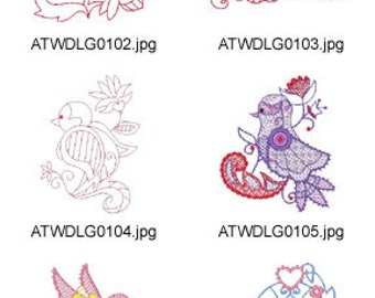 Twin-Jacobean-Birds ( 20 Machine Embroidery Designs from ATW ) XYZ17F