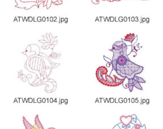 Twin-Jacobean-Birds ( 20 Machine Embroidery Designs from ATW ) XYZ17F