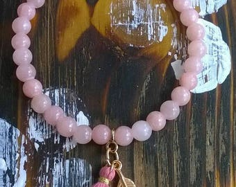 Bracelet pink jade rose gold