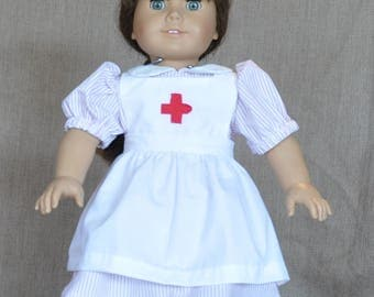 "Candy striper nurse outfit for 18"" dolls including American Girl."
