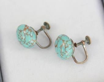 Vintage Turquoise Glass Earrings, Vintage Screw Back Earrings, Screw Back Button Earrings, Faux Turquoise Earrings