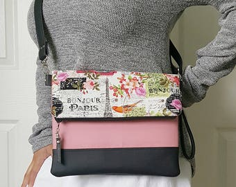 Paris Pink Green Crossbody Bag,Black Faux Leather, Crossbody Purse, Clutch Purse, Wristlet, Shoulder Bag, Handbag, Birthday Gift, Birthday