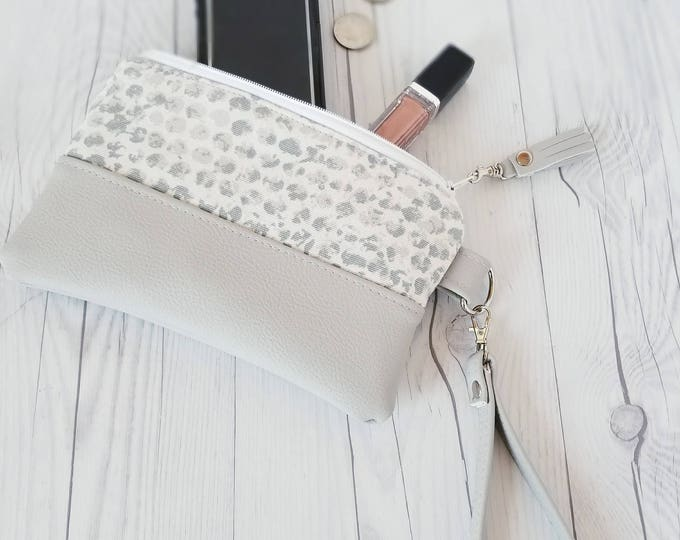 Featured listing image: Gray Wristlet - Gray Wristlet Wallet - Gray Womens Wallet - Faux Leather - Small Crossbody - Phone Wallet - Wristlet Purse - Bridesmaid