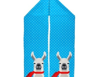 Winter Pixelated Llama Warm Fleece Scarf