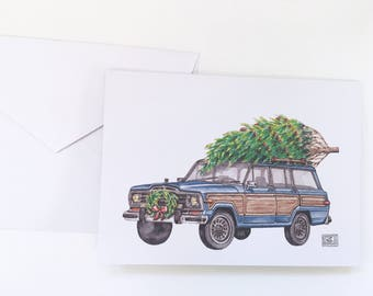 Jeep Wagoneer Christmas cards, set of 8 cards and envelopes, greeting cards, holiday card, christmas tree, original watercolor, classic car