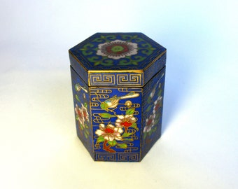 Antique / Chinese / Cloisonne Enamel Trinket Box / Faceted / Hexagon Box / Snuff Box / Lidded Jar/ Signed/ Blue / Floral/ Birds/ Collectible
