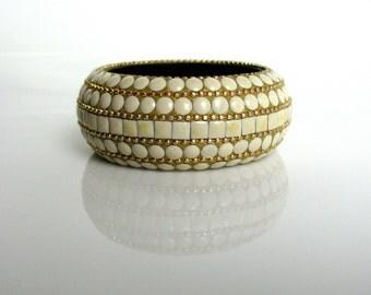 Mid Century / Inlaid Bangle / Chunky Bangle / Bone / Studded / White & Gold / Brass / Enamel / Textured / Bohemian / Tribal / Ethnic / Wide
