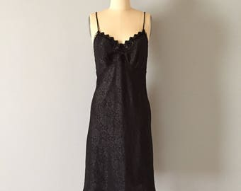 Christian Dior black slip dress | 80s Dior rose print and lace slip dress | bias cut slip dress