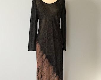 90s sheer maxi dress | cinnamon ornament sheer black maxi dress | artist maxi dress