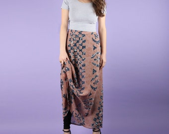 80s Tribal Maxi Schiffon Skirt