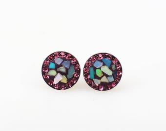 Sterling Silver Stud Earrings, Split Mother of Pearl Swarovsky Crystals, Amethyst Color, Unique Style Stud Earrings.