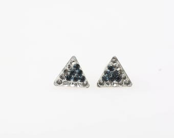 Sterling Silver Stud Earrings, Swarovsky Crystals, 7mm Side of Triangle, Montana Crystal Color, Unique BlingBling Korean Style Stud Earrings