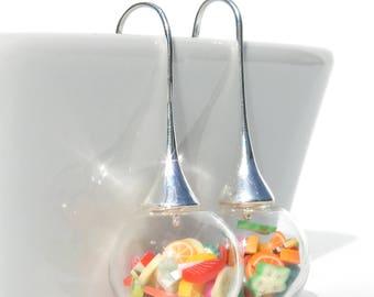Dangling earrings / fruit salad