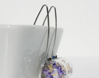"""Spear"" earrings / / blue flowers of AGAPANTHUS"