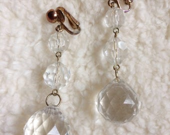 Big faceted dangle clip on earrings   1970-1980 disco party earrings