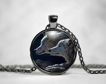 Wolf Necklace Wolf Pendant - Two Stunning Wolves in their wild environment. Wolf Profile Portrait of Two Wolves in the Wild Necklace