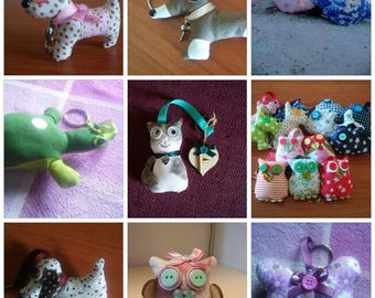 Custom upholstered fabric Keychain with various animals