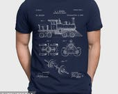 Steam Engine T-Shirt, Locomotive T Shirt, Train Shirt, Steam Engine Patent, Engineer Gift For Train Spotter, Train Fan, Railroad Shirt P165