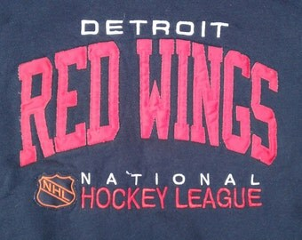 Vintage 80's / 90's Detroit Red Wings Embroidered Crewneck Sweatshirt Made in USA by Russell Athletic XXL