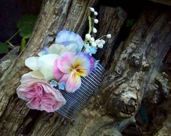 Wedding Hair Accessory, bridal , peony flower, spring jewelry, wedding jewelry , bridesmaid ,Hair Comb