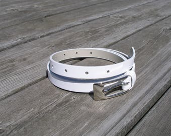 leather belt, women leather belt, white thin belt, narrow belt, skinny belt, belt for women,  leather jeans belt, silver buckle, white belt