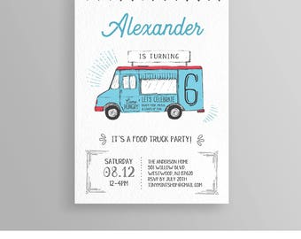 Food Truck Birthday Party Invitation, Foodie Theme, Carnival, Instant Download, Printable Invite Template, 100% Editable, Templett  #056NBD