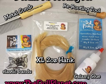 Doll Deluxe Re-rooting Starter Kit Natural Shades Nylon Doll Hair Hank for Rerooting Barbie® Monster High® Ever After High® MLP Disney