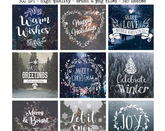 Christmas Photography Overlays , Word Art, Photo Quotes, Holiday Photo Overlays, Photoshop Templates, PNG Overlays, Winter Overlays