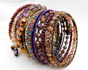 Beaded wrap bracelet, memory wire bracelet, purple wrap bracelet, purple beaded bracelet, crystal bracelet, beaded bracelet