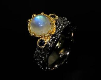 Rainbow Moonstone Ring, Moonstone for her, June Birthstone, Statement ring, Birthday gift for wife, Gift for mom Anniversary gift Ocean Ring