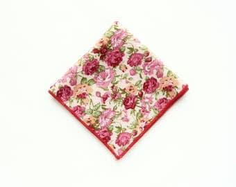 Mens floral pocket square burgundy pink floral prints wedding gifts for men groomsmen uk