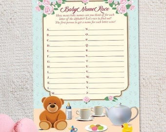 "Printable Tea Party Baby Shower Name Race Game Card - 5""x7"", Instant Download JPG"